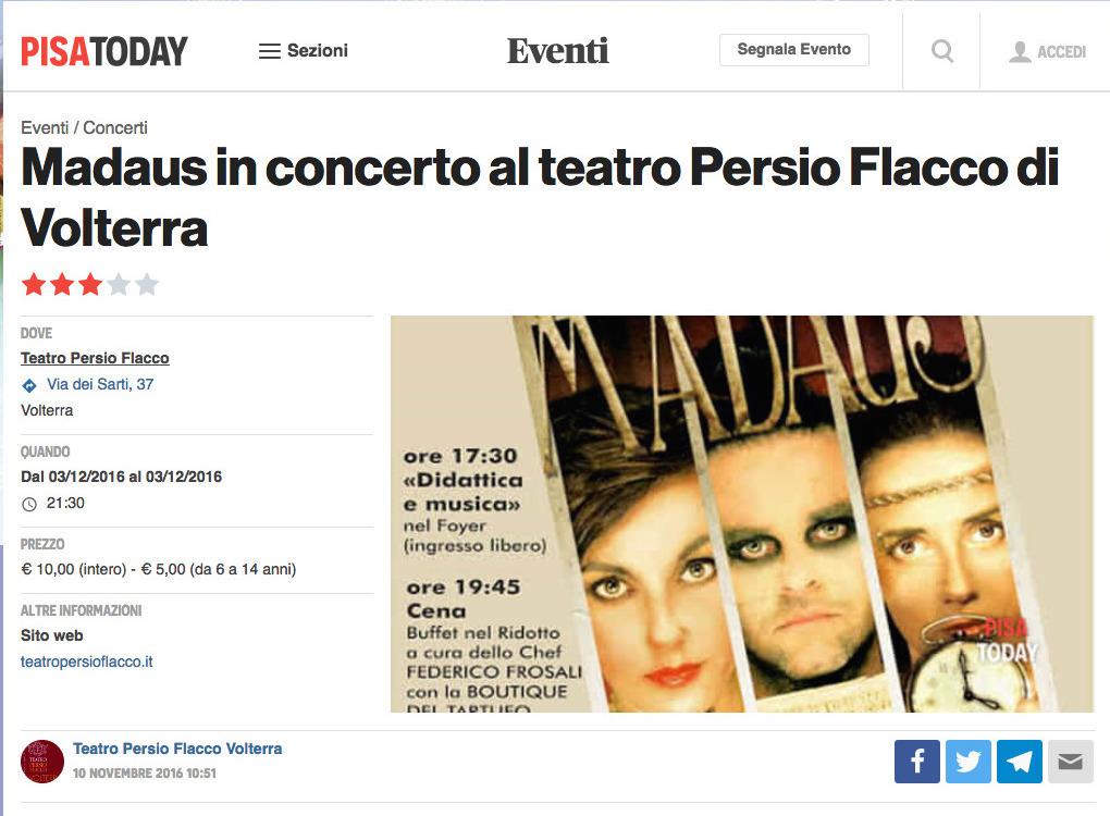 apri l'articolo di PisaToday relativo allo spettacolo di Madaus