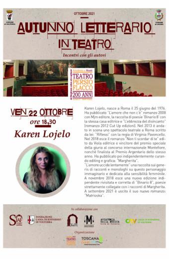 Incontro con Karen Lojelo - Autunno letterario in Teatro